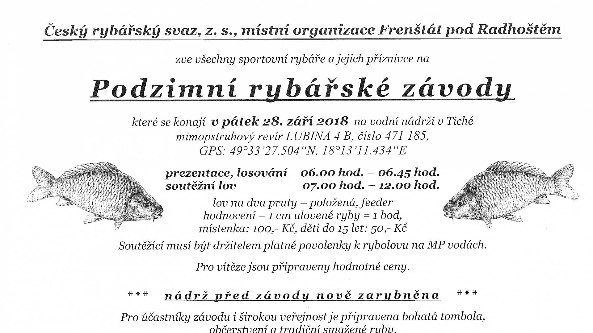 Český rybářský svaz, z. s., místní organizace Frenštát pod Radhoštěm - Podzimní rybářské závody 2018