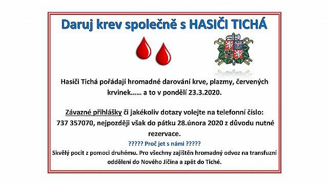 Daruj krev společně s HASIČI TICHÁ