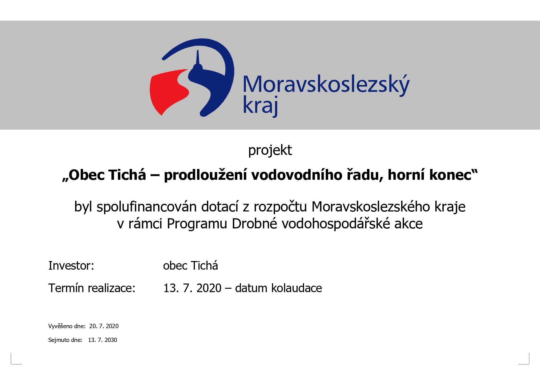 Prodloužení vodovodního řadu, horní konec; Tichá - podpořeno Moravskoslezským krajem