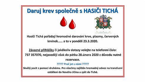 23.03.2020: Daruj krev společně s HASIČI TICHÁ