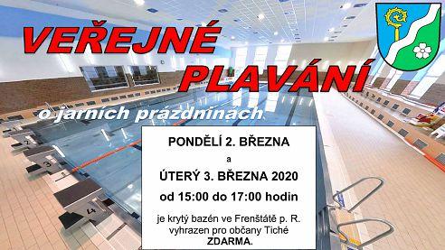 02.03.2020: Veřejné plavání o jarních prázdninách