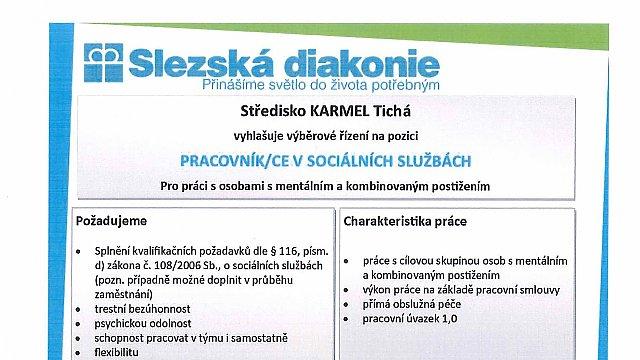 Středisko KARMEL Tichá vyhlašuje výběrové řízení na pozici PRACOVNÍK/CE V SOCIÁLNÍCH SLUŽBÁCH