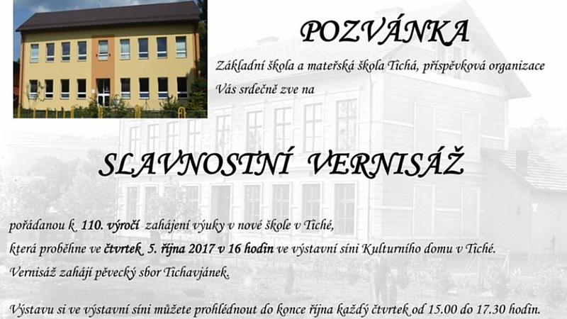 ZŠ a MŠ Tichá - Slavnostní vernisáž k 110. výročí  zahájení výuky v nové škole v Tiché